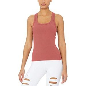alo rib support tank top in rosewood